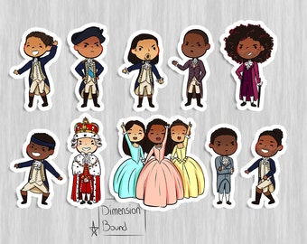 Hamilton stickers set, notebook sticker, laptop stickers, chibi sticker Alexander Hamilton, Schuyler sisters, King George Jefferson Burr