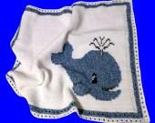Whale Blanket / Baby Nap Blanket / Crochet Blanket / Crochet Baby Blanket / Blankie / Whale Blankie / Baby Shower Blanket / Light blanket