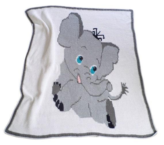 Baby Elephant Babt Blanket Nap Blanket Crochet Blanket