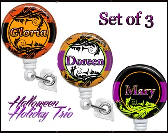 Set of 3 Personalized Halloween Colors, Retractable ID Badge Reels (D_76)
