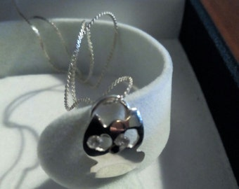 Pendant with silver chain silver Kitty