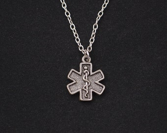 diabetes necklace, sterling silver filled, silver medical alert charm, gift for diabetic, emergency medical necklace,Christmas gift,birthday
