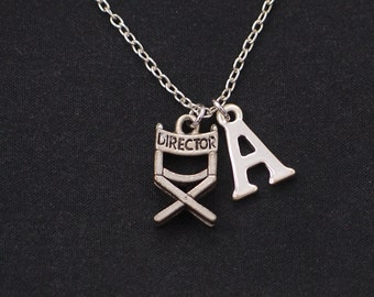 initial necklace, director's chair necklace, long necklace option, silver film director charm on silver plated chain, movie film necklace