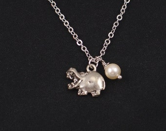 hippo necklace, Swarovski pearl choice, silver hippopotamus charm, hippo pendant, animal necklace,kid jewelry,zoo necklace,hippopotamus gift