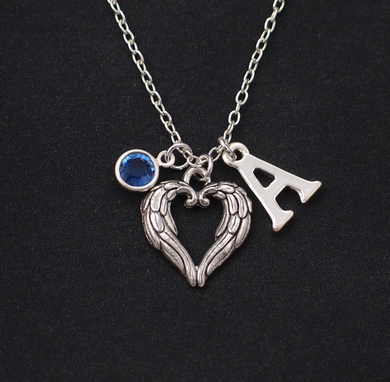 initial necklace angel wings heart necklace birthstone. Black Bedroom Furniture Sets. Home Design Ideas