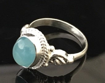Sterling silver ring with blue chalcedony