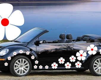 32,white & red pansy flowers car decals,stickers in three sizes