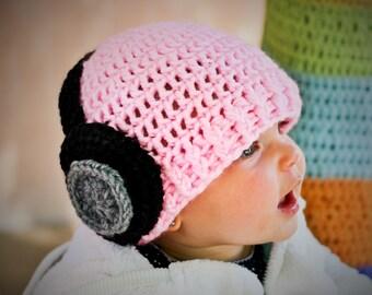 Beats Headphones Hat - Handmade to Order - Newborn to Adult