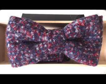 Luxury Red White and Blue Baby Alpaca Bow Tie for Baby, Boys, and Adults