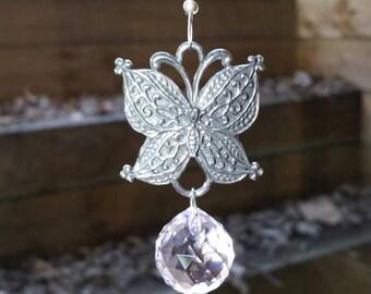 Butterfly decoration, butterfly suncatcher, pink butterfly, pewter butterfly, pink crystal suncatcher, crystal hanger, swarovski suncatcher