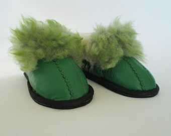 Children slippers, leather handmade slippers, green leather