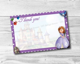 INSTANT DOWNLOAD Sophia The First Thank You Card Printable - 4x6 - Printable Sophia The First Thank You Card - Sophia the 1st