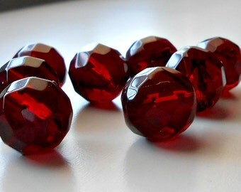 8 CHERRIES Ruby Red Faceted Czech Rounds, 12mm, Cherries, Ruby Red, Beads, Rounds Beads, Czech Beads, Jewelry Supplies, Bead Supplies
