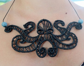 Necklace the embrace of the octopus, gothic jewellery, tentacle, kraken, pirate, monster, lace, printing 3d pen, tentacle, pulp