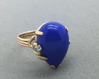 Vintage 14k Gold Pear Cut Lapis Lazuli and Diamond Leaf Prong Ring