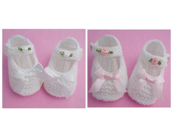 Knitted Baby Girl Mary Jane Shoes