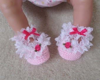 Baby girl hand knitted booties shoes