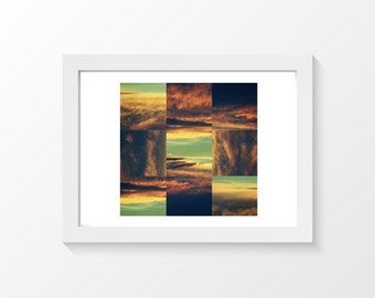"""Sunset cross / Sunset sky clouds composition square orange yellow brown green home decor downloadable art to print yourself / A3 and 11""""x17"""""""