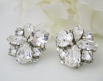 Asymmetrical rhinestone post earrings, Swarovski wedding earrings