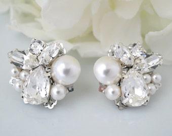 Asymmetrical pearl and crystal post earring, Swarovski pearl and rhinestone wedding earring, Unique bridal earring