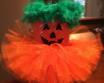 Pumpkin Halloween costume~Infant Halloween costume~ orange tutu dress~ bow headband ~ ONLY ONE!!!