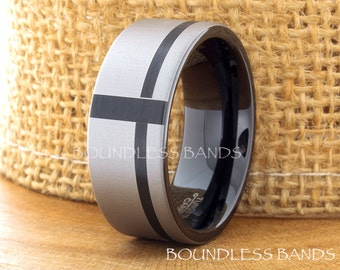 Tungsten Wedding Ring Mens Band Black Gun Metal Tungsten 9mm Cross Ring Anniversary Promise Engagement Band Comfort Fit Mens Tungsten Ring