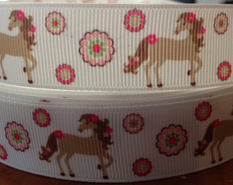 "Lot of 2 Metres of 7/8"" Grossgrain Ribbon - Horses - For Craft"