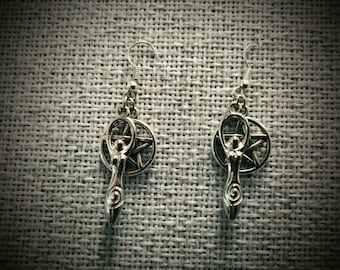 Spiral Goddess Pentacle Pentagram Earrings ~ Pagan, Wicca, Witch, Witchcraft, Jewelry, Handmade, Nature, Unique, Beautiful, Ritual