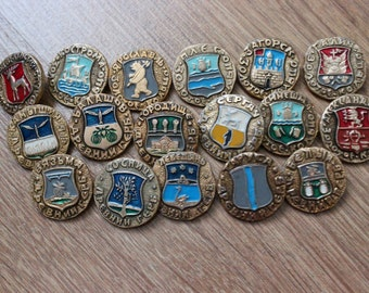Vintage USSR Russian set 17 pcs badges pins icons ancient COAT of ARMS gold ring
