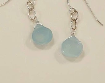 Genuine Aqua Blue Chalcedony and Sterling Earrings