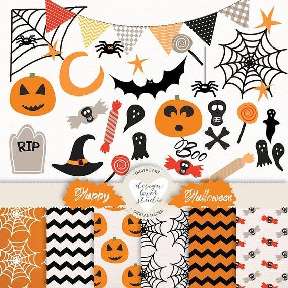 Vector Halloween clipart banner boo Spider Pumpkin Spooky