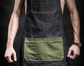 Denim apron with canvas pockets and military belts Work apron by Kruk Garage Barber apron Barista apron Mens gift St. Valentine's Day gift