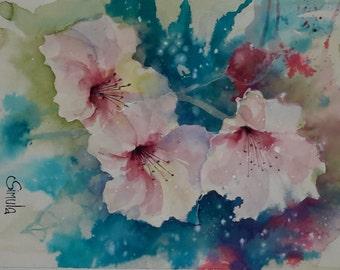 Original watercolor painting, aquarelle painting, original artwork, watercolor ibiscus, watercolor artwork, watercolor art,