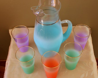 Vintage West Virginia Blendo Frosted Glass Pitcher with 5 Tumblers-Mid-Century