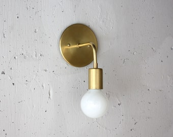 Modern Brass Sconce - Roy - Simple wall light - Mid century modern - Danish modern - Minimalist - bedside light