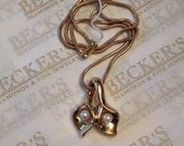 Fabulous  vintage 14k yellow gold Double Calla Lily & 2 Akoya Cultured Pearl Drop Pendant on heavy snake chain Israel