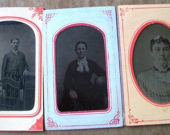 Lot of 3 Tintype Photo Portraits