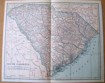 "Vintage 1925 Map of South Carolina - 9"" x 11"""