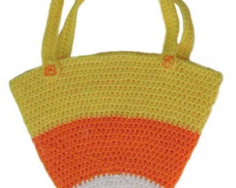 Crochet Candy Corn Bag, Halloween Bag, Trick or Treat Bag, Treat Bag, Halloween tote