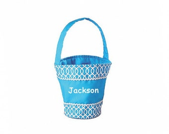Personalized Blue Easter Basket -  Geometric Pattern