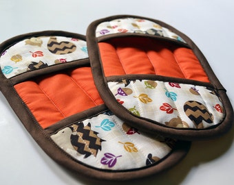 Woodland Pot Holders - Animal Oven Mitts - Brown Pot Holders - Orange Pot Holders - Orange Oven Mitts - Forest Pot Holders - Oven Mitts