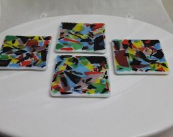 Fused Glass Coasters - Confetti Glass