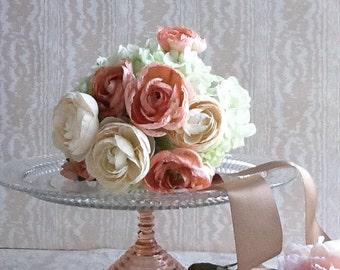 "12"" Blush Cake Stand/ 12"" Glass Cake Stand/Dessert Pedestal/ Blush Wedding/Baby Shower/Bridal Shower"