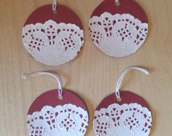 Red Doilies Christmas Gift Tags (Set of 4)