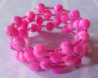 Wrap around bracelet, pink