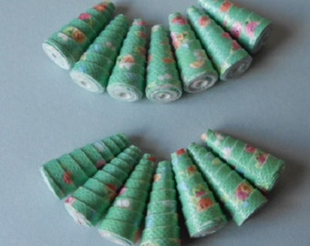 14 Handmade paper cone beads, Interesting Green
