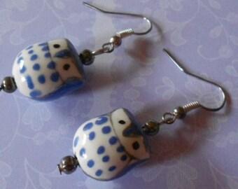 Handmade earrings, blue porcelain owl