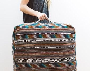 Large box shaped floor cushion, pouf, pillow, multicolour fabric