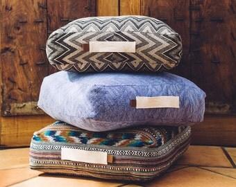 Large box shaped floor cushion, pouf, zig zag blue pattern, overdyed