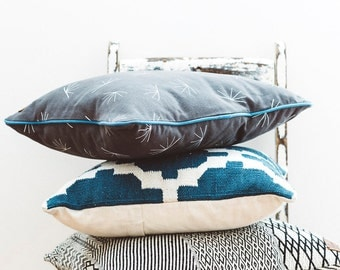 Charcoal washed cotton canvas throw cushion, blue trim
